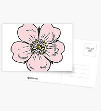 pink wild rose female girl woman flower cute beautiful hippie retro vintage t shrits Postcards
