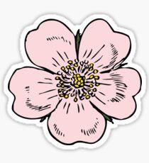 pink wild rose female girl woman flower cute beautiful hippie retro vintage t shrits Sticker