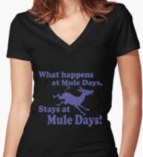 Mule Day Women's Fitted V-Neck T-Shirt