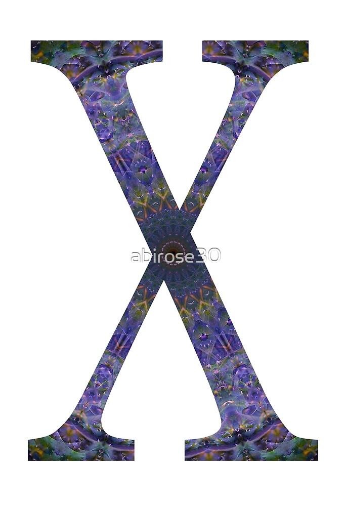 Letter 'X' Purple Mandala 2 by abirose30