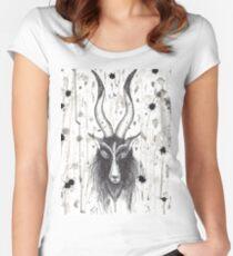 Baphomet Goat Splatter  Women's Fitted Scoop T-Shirt