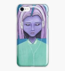 Alien girl / headphones trippy music fantasy art iPhone Case/Skin