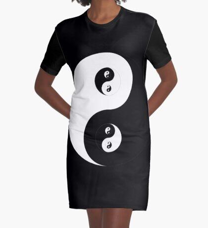 Ying Yang B&W Graphic T-Shirt Dress