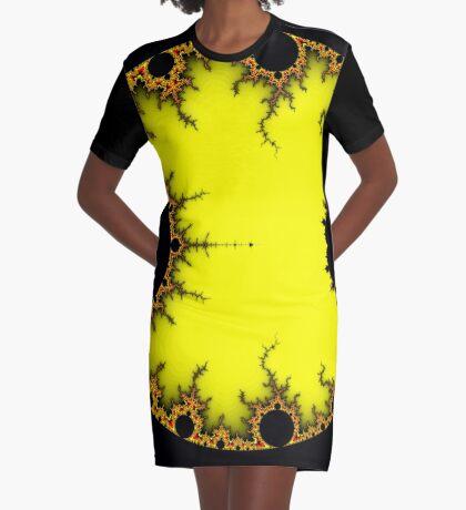 Mandelbrot Orb Yellow Graphic T-Shirt Dress