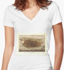 Vintage Pictorial Map of San Francisco (1878)  Women's Fitted V-Neck T-Shirt