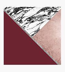 Marble Rose Gold Red Wine Triangle Geometric Photographic Print