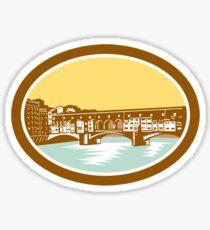 Arch Bridge Ponte Vecchio Florence Woodcut Sticker