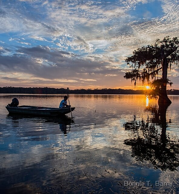 Fishing at Sundown by Bonnie T.  Barry