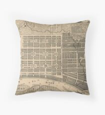 Vintage Map of Savannah Georgia (1818) Throw Pillow