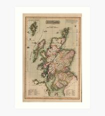 Vintage Map of Scotland (1814)  Art Print