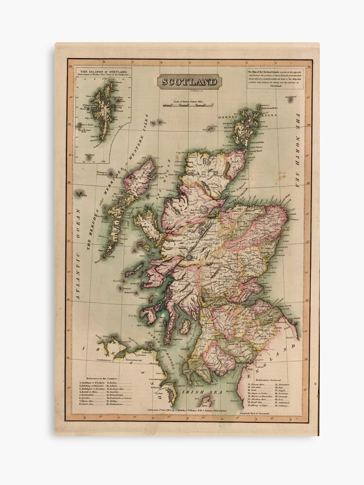 photo about Printable Map of Scotland referred to as Common Map of Scotland (1814) Canvas Print