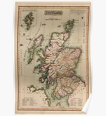 Vintage Map of Scotland (1814)  Poster
