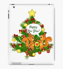 Christmas squirrel and christmas tree. Happy New Year. iPad Case/Skin
