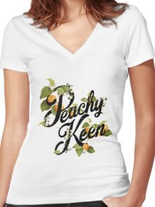 Peachy Keen : Mint Women's Fitted V-Neck T-Shirt