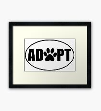 ADOPT pet sticker Framed Print