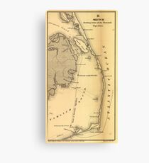 Vintage Map of The Outer Banks (1862) Leinwanddruck