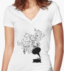 Gramophone and Music Notes Women's Fitted V-Neck T-Shirt