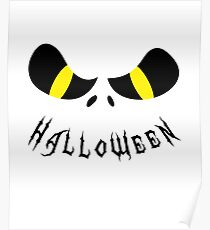 Scary Halloween Monster Face Black Poster