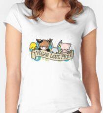 Vegan Love Pride Women's Fitted Scoop T-Shirt
