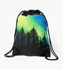 Aurora Borealis with Trees Drawstring Bag