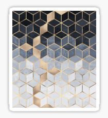 Soft Blue Gradient Cubes Sticker