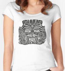 Maori Moko | Tribal Tattoo | New Zealand | Black and White Women's Fitted Scoop T-Shirt