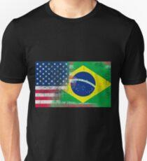Brazilian American Half Brazil Half America Flag T-Shirt