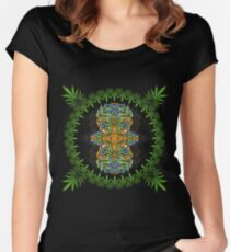 Psychedelic cannabis jungle spirit Women's Fitted Scoop T-Shirt