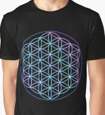 Flower of Life - Blue to Pink Graphic T-Shirt