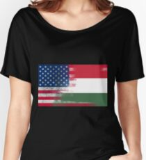 Hungarian American Half Hungary Half America Flag Women's Relaxed Fit T-Shirt