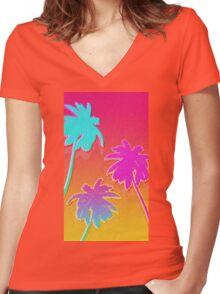 Hotline Palmtrees Women's Fitted V-Neck T-Shirt