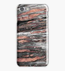 Modern rose gold abstract marbleized paint iPhone Case/Skin