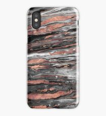 Modern rose gold abstract marbleized paint iPhone Case