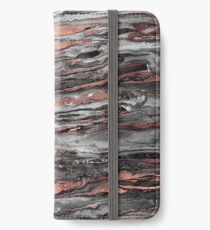 Modern rose gold abstract marbleized paint iPhone Wallet