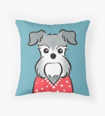 Schnauzer in Red Polka-dot Sweater Throw Pillow