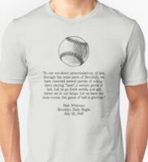 Walt Whitman - Baseball Quote (Black) T-Shirt
