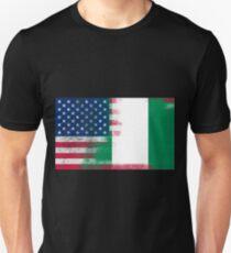Nigerian American Half Nigeria Half America Flag T-Shirt