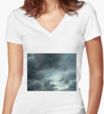 sky storm Women's Fitted V-Neck T-Shirt