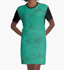 Weedy Sea Dragon - black line, colour in Graphic T-Shirt Dress