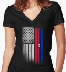 Haitian American Flag Women's Fitted V-Neck T-Shirt