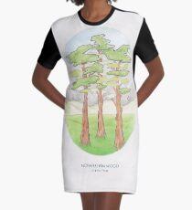 Haruki Murakamis norwegisches Holz // Illustration eines Waldes und der Berge in Bleistift T-Shirt Kleid