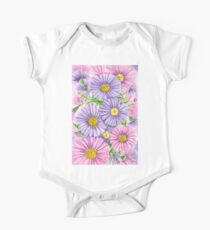 Pink and purple flowers One Piece - Short Sleeve