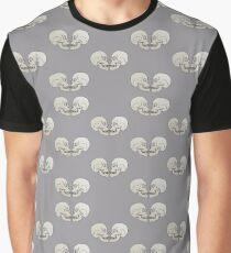 Bold graphic facing skulls in light grey Graphic T-Shirt