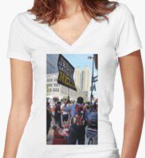 Teach Your Children / Rainbow Flower Bombed Women's Fitted V-Neck T-Shirt