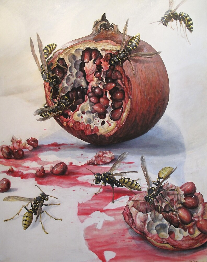 Pomegranate and Paper Wasps by Joe Helms