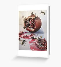 Pomegranate and Paper Wasps Greeting Card