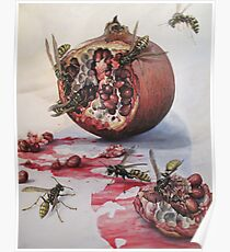 Pomegranate and Paper Wasps Poster
