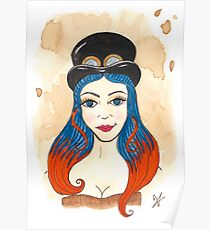 Blue and Orange Steampunk Poster