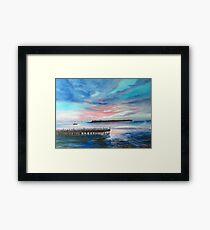 Sunset At Sunset Pier Tiki Bar Framed Print