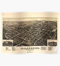 Vintage Pictorial Map of Tallahassee FL (1885) Poster